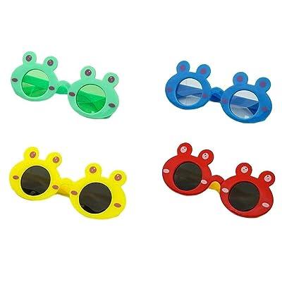 4 Pares de Gafas de Sol con Forma de Rana de plástico de Dibujos Animados Cosplay Accesorios for Fiestas: Juguetes y juegos