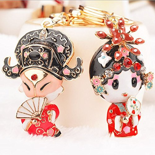 Character Key Ring - Reizteko A Pair of Chinese Opera Characters Rhinestone Alloy Car/Bag Keychain for Couple Lovers (A Pair)