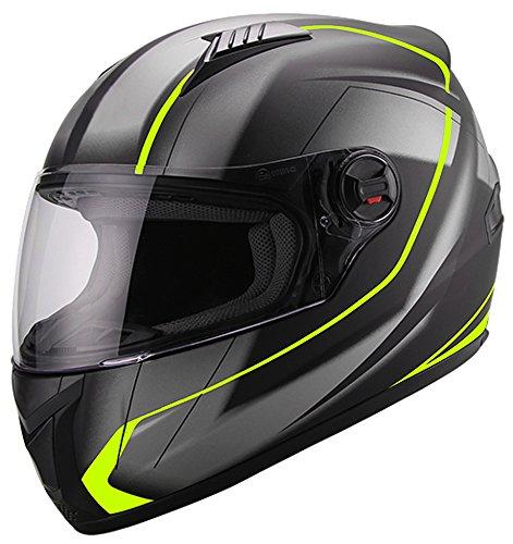 Integralhelm Helm Motorradhelm RALLOX 708 neon gelb grün schwarz matt S M L XL Größe M