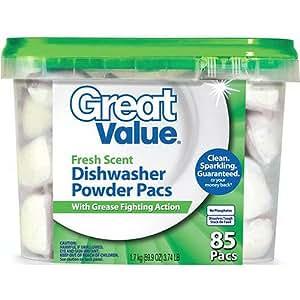 Amazon.com: Great Value Fresh Scent Dishwasher Powder Pacs