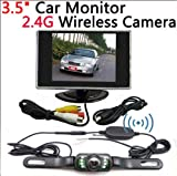 BW 3.5 inch LCD Rear View Monitor 2.4G Wireless IR Night Waterproof Car Reverse Parking Backup Camera System