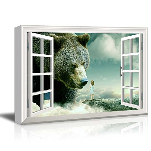 Window View Mystical Style Gigantic Bear with Little Girl Gallery