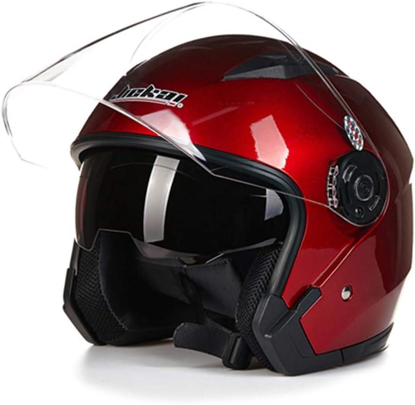 Desconocido Casco abierto de motocicleta Capacete Para Motocicleta Cascos Para Moto Racing Cascos vintage de motocicleta con lente doble Casco de pareja