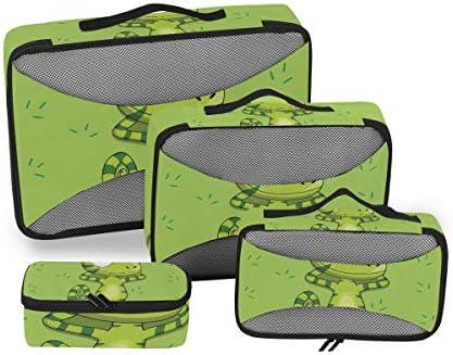 緑のカジュアルな恐竜の昆虫荷物パッキングキューブオーガナイザートイレタリーランドリーストレージバッグポーチパックキューブ4さまざまなサイズセットトラベルキッズレディース