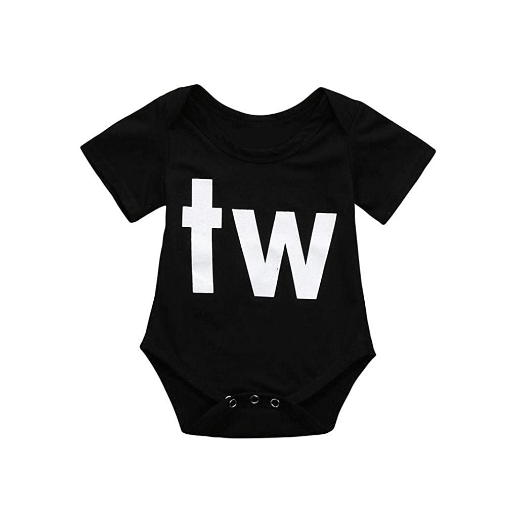Singleluci Unisex Newborn Baby Bodysuit Twins Romper Playsuit Outfits Clothes