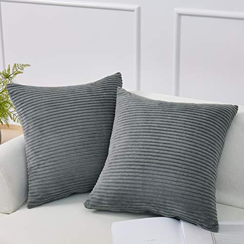 (Decorative Corduroy Striped Throw Pillow Covers (Set of 2) - Pillow Cover Sham Cover - Grey Throw Pillow cover - Decorative Sofa Throw Pillow Cover - Square Decorative Pillowcase - Grey - 18