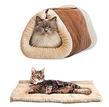 UChic - Saco de dormir 2 en 1 para gatos, cama para mascotas, túnel