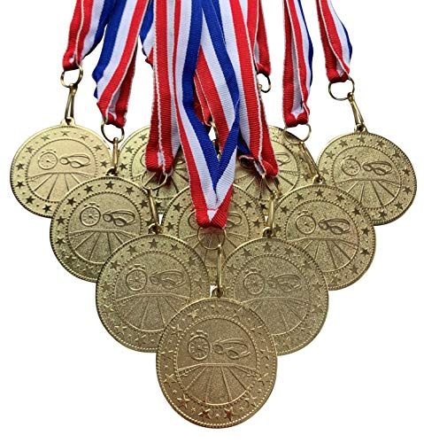 10 Pack of Gold Swimming Medals Trophy Award with Neck Ribbons