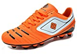 zapatos de football - DREAM PAIRS 151028 Men's Sport Flexible Athletic Free Running Light Weight Indoor/Outdoor Lace Up Soccer Shoes Orange-WHT-BLK Size 9
