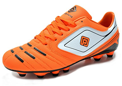 - DREAM PAIRS 151028 Men's Sport Flexible Athletic Free Running Light Weight Indoor/Outdoor Lace Up Soccer Shoes Orange-WHT-BLK Size 8.5