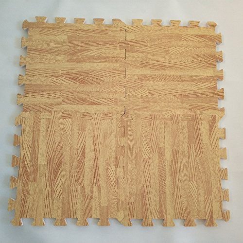EVA Solid foam puzzle mat with light wood pattern used for exercise/yoga size:12″X12″ 3/8″Thick 9PCS/bag
