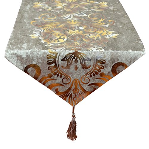 New Hot Stamping Contracted Classic Table Runner 13x70inch (1370 inch, Beige) (Dresser Top Runner)
