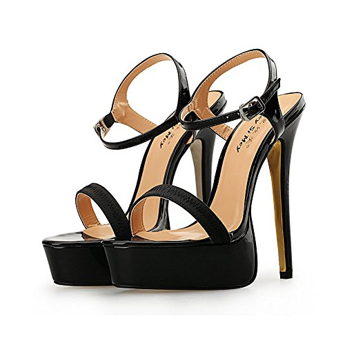 De Hebilla Sandalias Hueco KJJDE Baile Tacón Alta De Stiletto Alto De Sexy 16CM Moda DGZY Super Mujer Tacón Metal Zapatos Fiesta 45 Black Plataforma 31 I0x48qxw