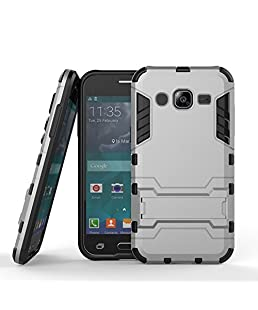 CASSIEY Shockproof Armor Hard Plastic Back Cover with Kickstand for Samsung Galaxy J2 (2015) J200 (Silver)