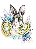 GRAY BUNNY WITH GOLD GEODES AND SUCCULENTS PRINT PRINTED ON PREMIUM 100% RAG (COTTON) WHITE 140LLB ARCHIVAL PAPER