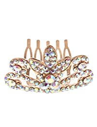 D DOLITY Princess Clover-Shape Tiara Crown with Comb for Child Girl Birthday Party Decorations