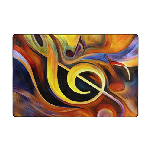 My Little Nest Flowing Melody and Music Note Area Rug 2' x 3' Lightweight Modern Floor Mat Non-Slip Indoor Outdoor Decor Soft Carpet For Bedroom Living Dining Room