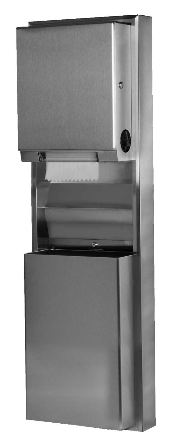 "Bobrick 39619 ClassicSeries Stainless Steel Surfaced Mounting Convertible Paper Towel Dispenser and Waste Receptacle, Satin Finish, 17-1/2"" Width x 56-5/16"" Height x 9-1/4"" Depth"