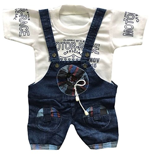 BabyMart Baby Boys Denim Dungaree with Cotton Printed T-Shirt