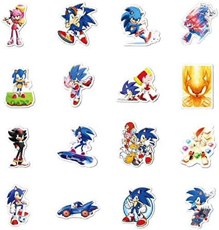 50pcs Hawaii Sonic The Hedgehog Stickers Cartoon Decal for Suitcase Computer Skateboard Luggage Helmet Blue Hedgehog Stickers for kids teens