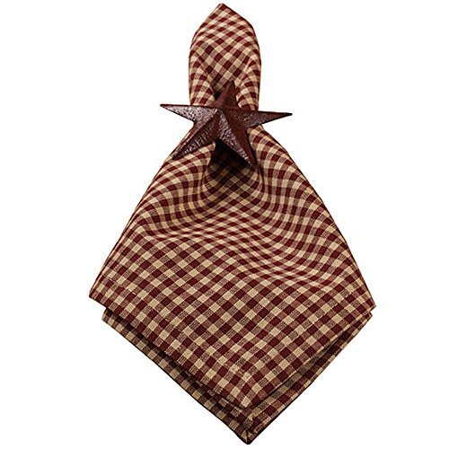 Colonial Burgundy Gingham Plaid 18 x 18 All Cotton Napkin Pack of 4