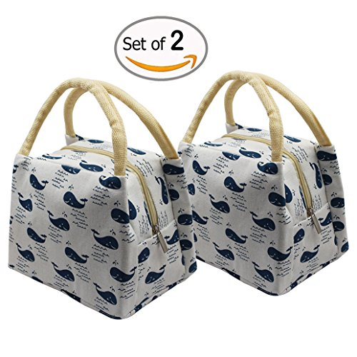 Canvas Reusable Insulated Lunch Bag 2pc Travel School Picnic with Zipper for Men, Women, Kids - For A Trip Camping Needed Things