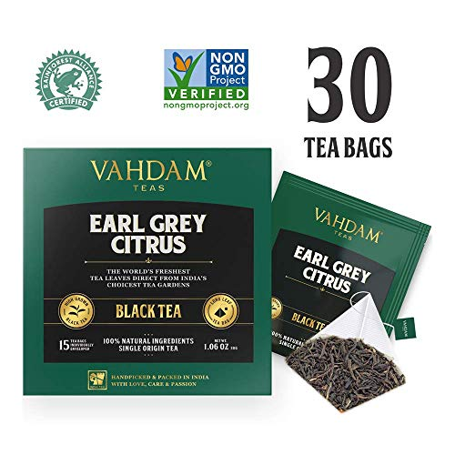 Tea Bags (PACK OF 2), 100% NATURAL, Long Leaf Pyramid Earl Grey Tea Bags, Aromatic & Delicious, Black Tea blended with Natural Oil of Bergamot, Packed at Source, Iced Tea Bags ()