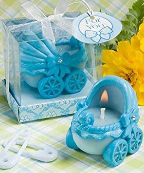 baby shower favour adorable baby blue carriage candle amazon co uk