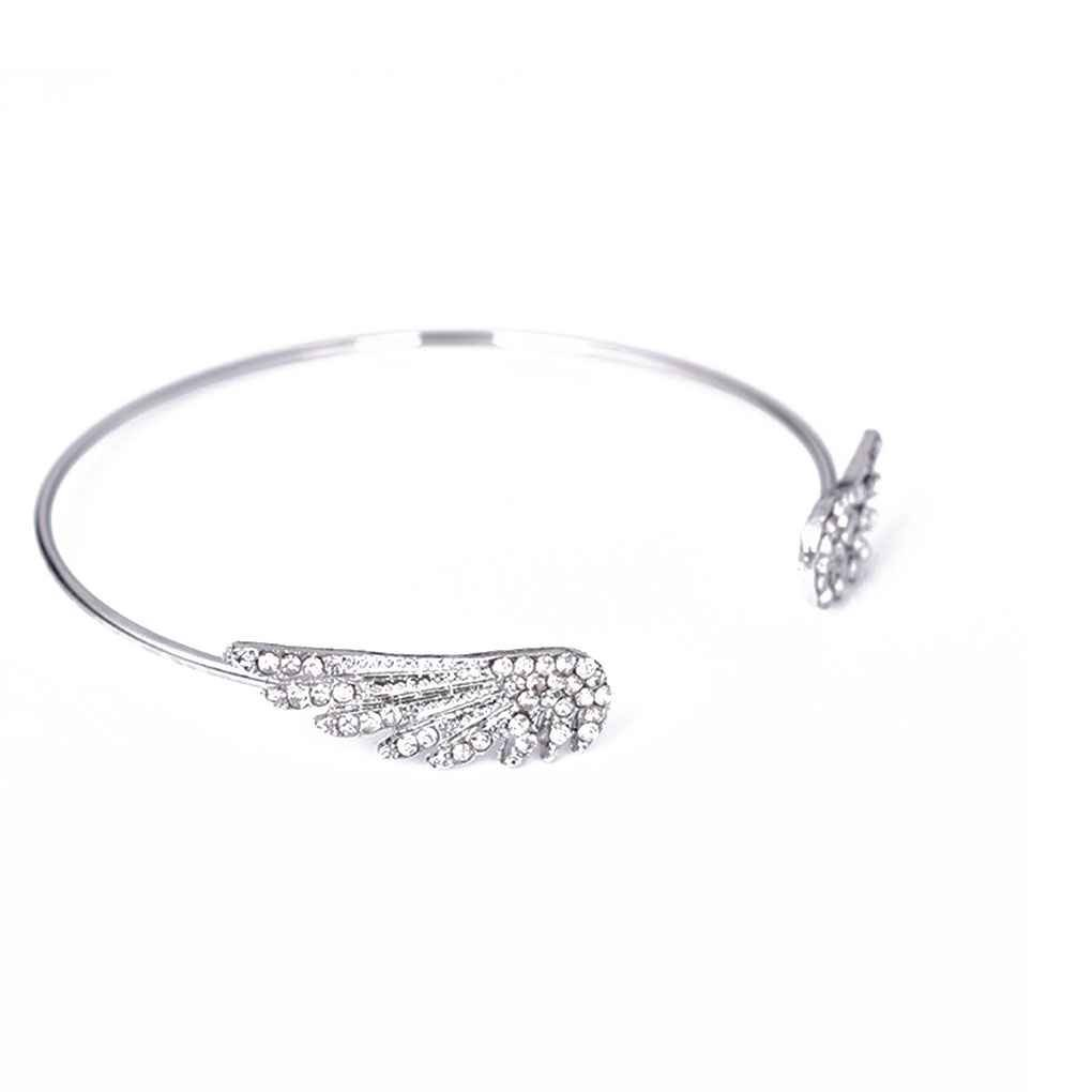 Zerama Femmes Strass Double Wings Ouvrir Bangle ré glable Zircon Bracelet