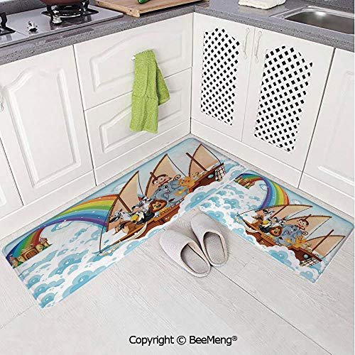 2 Piece Water Uptake Indoor Modern Anti-Skid Cartoon carpetChildren,Many Animals on a Boat Ark in Fluffy Clouds with Rainbow Fantasy Cartoon,Multicolor,16x24in,16x39in -