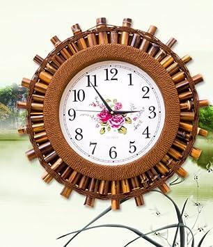 Salón bambú creativa muro moderno continental cartas Decoraciones pared silencioso reloj relojes reloj americano reloj de pared de 20 pulgadas: Amazon.es: ...