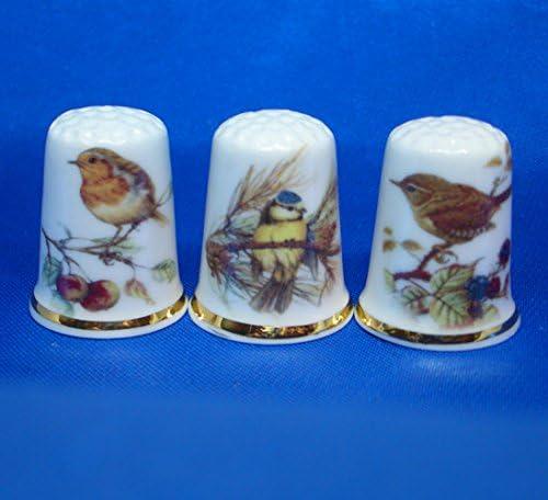 3 St/ück Gartenv/ögel Porzellan-Fingerhut zum Sammeln
