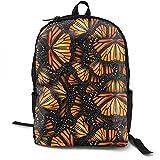 Mwsgs90 Laptop Backpack Heaps of Orange Monarch Butterflies Computer Bag College School Backpack Unisex