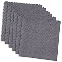 "DII Cotton Zig Zag Weave Dish Clothes, 12 x 12"" Set of 6, Heavy Duty Kitchen Bar Mop for Drying & Cleaning-Gray"