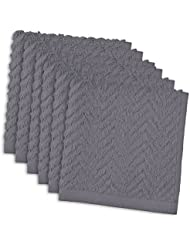 DII Cotton Zig Zag Weave Dish Clothes, 12 x 12 Set of 6, Heavy Duty Kitchen Bar Mop for Drying & Cleaning-Gray