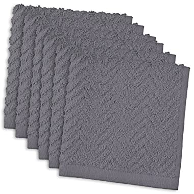 DII 100% Cotton, Everyday Kitchen Basic, Heavy Duty Bar Mop, Drying & Cleaning, 12 x 12  Zig Zag Weave Dishcloth, Set of 6- Gray