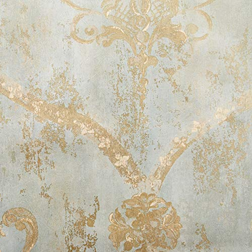 Wallpaper Gold Regal Damask on Aqua Textured Background ()