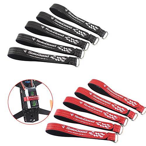 SoloGood 10 PCS RC Lipo Battery Straps 15x250mm Reinforced Non-Slip Battery Straps Using Leather Material &Metal Buckle(Red+Black) ... (Battery Straps Lipo)