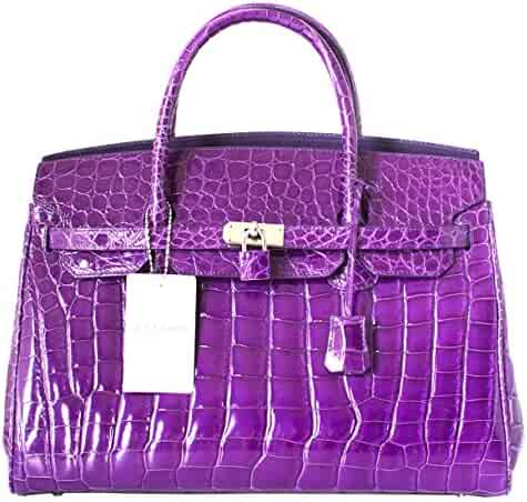Authentic Elfano Crocodile Skin Womens Hobo Bag Purse Locked Glossy Handbag 37ae16d5ba1f6