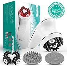 VOYOR Handheld Massager Cordless Deep Tissue Cellulite Massager for Face, Hand, Arm, Neck, Foot and Body, Silicone Face Brush, 3 Multi-functional Heads, IPX7 Waterproof & Rechargable VRMM1-NEW