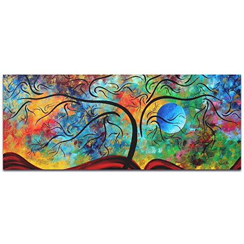 Metal Art Studio Landscape Painting 'Blue Moon Rising' by Megan Duncanson-Abstract Tree Whimsical Artwork, Metal