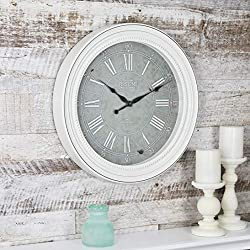 FirsTime & Co. 99674 Firstime Shabby Chic Wall Clock, 18.5 in in, White