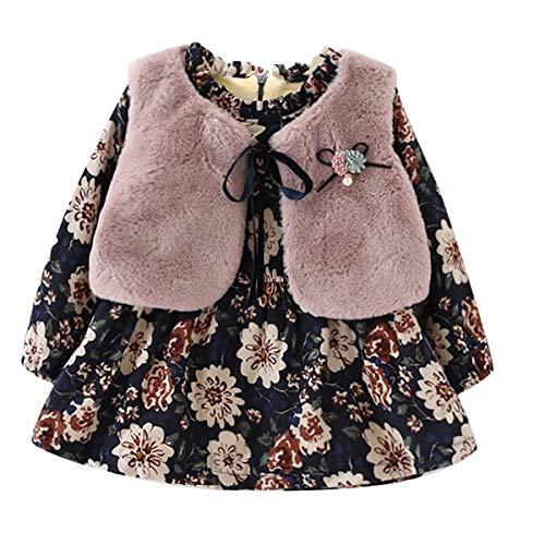 Baby Girls Dress Fleece Lined Floral Sundress + Faux Fur Thick Vest 2pcs (14-24 Month)