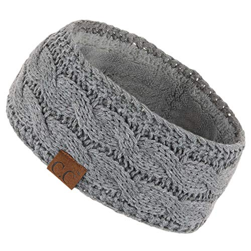 Hatsandscarf C.C Winter Fuzzy Fleece Lined Thick Knitted Headband Headwrap Earwarmer (Lt. Mel Grey)