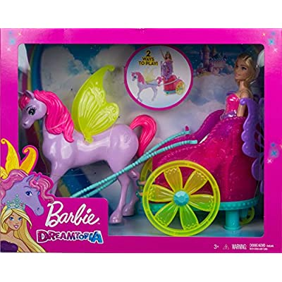 ​Barbie Dreamtopia Princess Doll, 11.5-in Blonde, with Fantasy Horse and Chariot, Wearing Fashion and Accessories, Gift for 3 to 7 Year Olds: Toys & Games