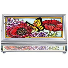 Amia 41574 Parade of Poppies Hand-Painted Beveled Glass 4-1/4 by 2-1/4-Inch Jewelry Box, Small