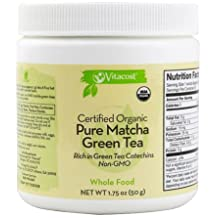 VITACOST Certified ORGANIC Pure MATCHA GREEN Tea Powder - All Day Energy - Green Tea Lattes - Smoothies - Baking - Improved Hair & Skin Health- METABOLISM Boost - ANTIOXIDANT Rich - Ultra-Fine, QUICK-DISSOLVING Powder, Non-GMO -- 1.75 oz (50 g)