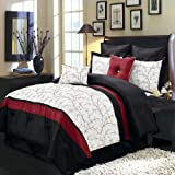 Atlantis Ivory, Red and Black King size Luxury 8 piece comforter set includes Comforter, bed skirt, pillow shams, decorative pillows