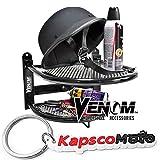 Venom Wall Mounted Motorcycle Helmet Gloves and Jacket Shelf - Gear and Tool Storage For Harley Yamaha Honda Kawasaki Ducati Sport Streetbike Cruiser Bike Touring Motorcycle + KapscoMoto Keychain