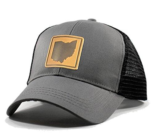 (Homeland Tees Men's Ohio Leather Patch Trucker Hat - Grey)